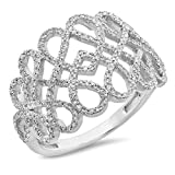 0.36 Carat (ctw) 14K White Gold White Diamond Infinity Crossover Swirl Cocktail Right Hand Ring 1/3 CT