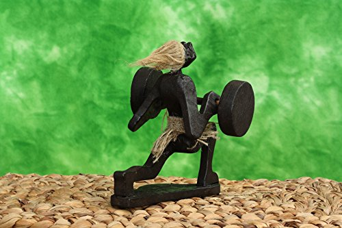 Handmade-Wooden-Primitive-Tribal-Statue-Weighlifting-Clean-Jerk-Handrafted-Tiki-Bar