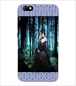 PrintDhaba Girl in Black D-4080 Back Case Cover for HUAWEI HONOR 4X (Multi-Coloured)