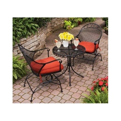Clayton Court 3-Piece Motion Outdoor Bistro Set, Red, Seats 2 image