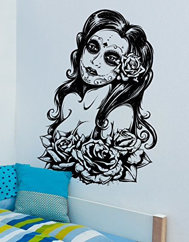 Mexican Day of the Dead Sexy Girl Wall Decal Sticker by Stickerbrand 37in X 25in. - Easy to Apply / Removable. Made in the USA. Black color #6021m-37x25