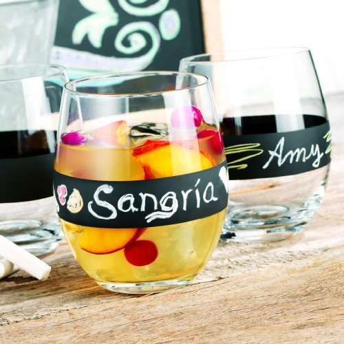 Set Of 4 Chalkboard Stemless Glasses 16-Oz ~ Four Unique Personalized Write On Clear Drinking Glasses Party Set, Chalk Included