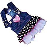 Dog Denim Dress Pink Sequin Heart Pocket -- Chest Circumference: Approx. 11.5 Inch