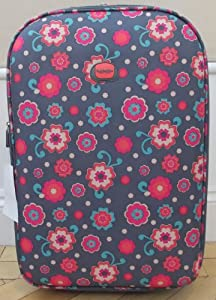 Small 41 lts Travel Luggage suitcase On Wheels Pink and Charcoal Floral pattern EXPANDING trolly Light Weight