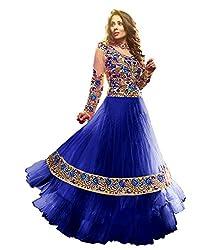 Maruti Creation Women's Georgette Semi-stitched Anarkali Suit Dress Material (MC1024_FREE_SIZE_BLUE)