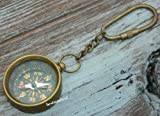 BEAUTIFUL Compass Keyrings Solid Brass Key chains'& ANTIQUE Finish One-inch