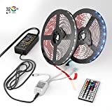 [NEW 2018] LED Strip Lights Kit 2-Pack x 5M - 32.8ft (10M) 300 LEDs SMD 5050 RGB Light with 44 Key Remote Controller, Extra Adhesive 3M Tape, Flexible Changing Multi-Color Lighting Strips for TV, Room