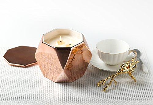 Gardenia Candles Scented Soy Wax 3 Wick Ceramic Jar, 125 Burning Hours Rose Gold, Christmas Gifts Wrapping (W Hotel Room Scent compare prices)