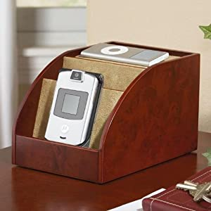 mini charging station and desk organizer for handheld electronics burlwood
