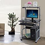 Songmics 130 x 70 x 68 cm Computer Desk Movable Portable Trolley Study Workstation with Sliding Keyboard 2 Shelves 4 wheels, Black, LCD818B