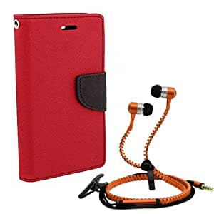 Aart Fancy Diary Card Wallet Flip Case Back Cover For Samsung 8552-(Red) + Zipper earphones/Hands free With Mic *Stylish Design* for all Mobiles By Aart store