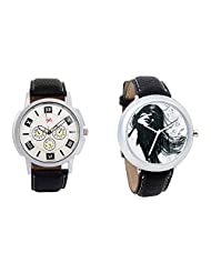 Gledati Men's White Dial And Foster's Women's Black Dial Analog Watch Combo_ADCOMB0001757