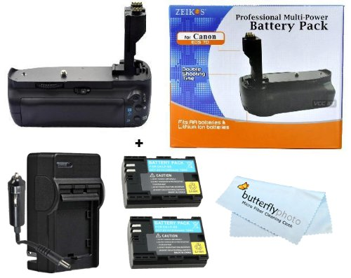 New Vertical Battery Grip for Canon EOS EF 7D 7-D Camera BGE7 BG-E7 + 2 Pack 2200MAH Canon LP-E6 Replacement Batteries (with Info-Chip!) + 1 Hour Rapid AC/DC Charger Battery Shows time on LCD!