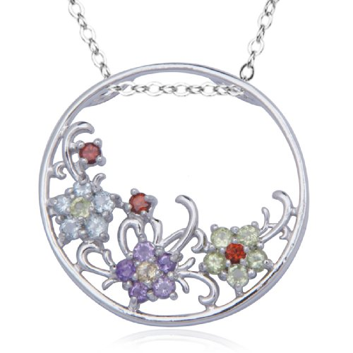 Sterling Silver Multi-Gemstone Flower Circle Pendant Necklace , 18