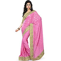 Vasu Saree Designer Traditional Viscose Party Wear Pink Saree With Jari Work Border With Beige Blouse Piece