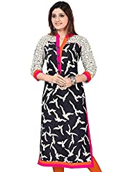 Vidhya Lifestyle Women's Poly Cotton Kurti (PANKHIDA BLACK KURTI_Black_Free Size)