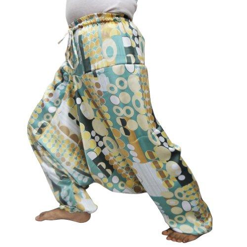 White Oval Pattern Harem Women Wear Baggy Satin Silk Trouser Indian Paint