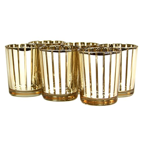 Koyal 6-Pack Striped Votive Cup, 2.5-Inch, Gold front-995339