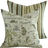 Chloe & Olive Tropic of Paradise Collection Tommy Bahama Caribbean Outdoor Pillow Cover, 18-Inch, Brown