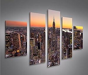 New york city mf 5 quadri moderni su tela pronti da for Stampe da appendere