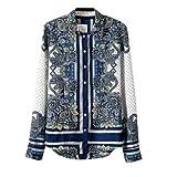 Zcargel Women's Printing Long Sleeve Chiffon Top Shirt Blouse (US10/UK12/EU40)