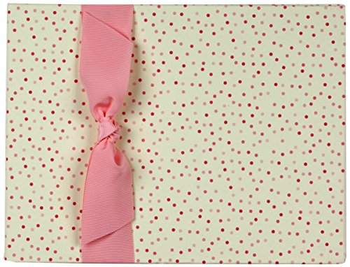 Tessera Baby Books Memory Book Dots with Grosgrain Ribbon, Pink
