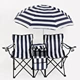 Twin Camping Chair with Cooler and Umbrella 91074 (Lb)