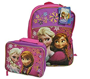 Frozen Backpack with Matching Lunchbox Set Featuring Anna and Elsa
