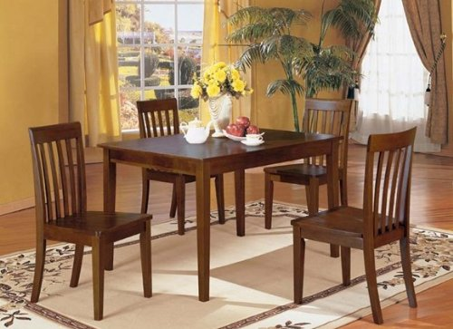 Picture of Acme Furniture 5-piece Walnut Finsh Dinette Set By Acme Furniture (VF_AZ01-13174) (Dinette Sets)