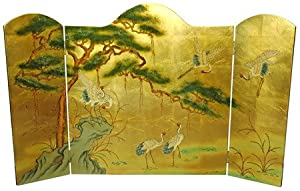 Oriental Furniture Asian Furniture and Decor 54-Inch Ming Design Chinese Lacquered Oriental Fireplace Screen, Gold Leaf