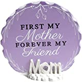 """First My Mother Forever My Friend Decorative Glass Plaque On """"Mom"""" Pedestal 4 Inch Round Decorative Purple Glass"""