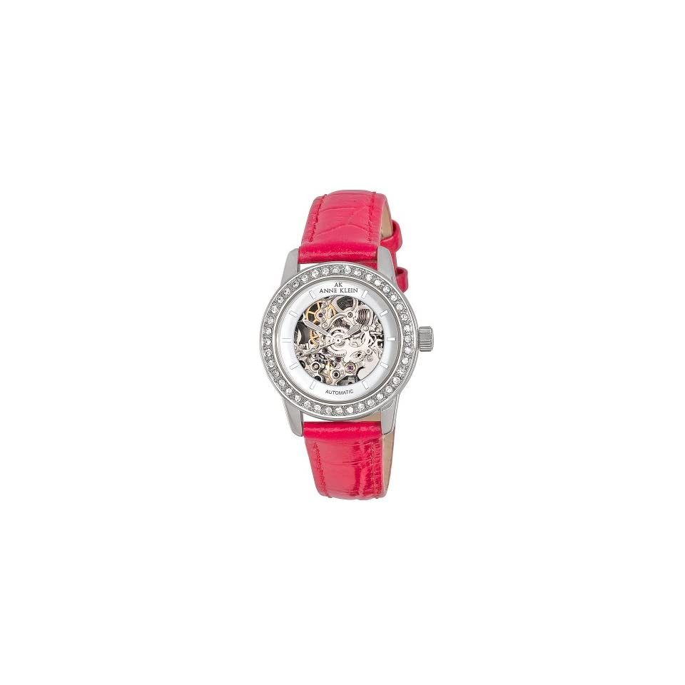 Anne Klein Womens 109131WTRD Automatic Swarovski Crystal Accented Silver Tone Watch