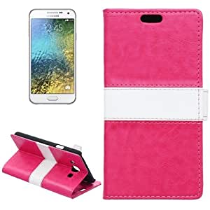 Crazy4Gadget Color Matching Flip Leather Case with Holder & Card Slots & Wallet for Samsung Galaxy E5 / E500(Magenta)