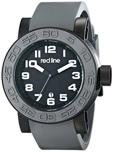 Red Line Men's Xlerator 52mm Grey Silicone Band IP Steel Case Quartz Black Dial Watch 50051-BB-01-GRYS