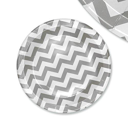 48x pappteller papierteller wave einssein 23cm wei silber papiergeschirr pappgeschirr bunte. Black Bedroom Furniture Sets. Home Design Ideas
