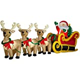 Gemmy Inflatable Santa Sleigh with Three Reindeer