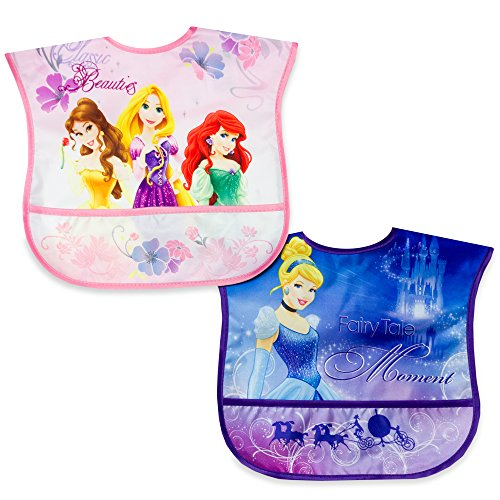Disney Princess 2 Pack Wipe Clean Bibs - 1