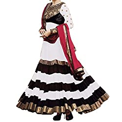 Awesome Fab White & Black Georgette Semi-Stiched Embroidered Anarkali