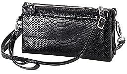 Heshe Soft Leather Crocodile Clutch Organizer Purse Shoulder Crossbody Wrislet Bag Satchel Purse Handbag for Women Hot Sell (Black)