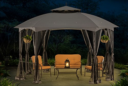 Sunjoy L-GZ660PST Large Capri Gazebo with Netting, 12'