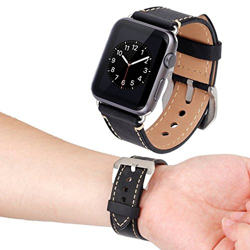 Apple Watch Band, 42mm iWatch Band Strap Premium Vintage Genuine Leather Replacement Watchband with Secure Metal Clasp Buckle for Apple Watch Sport Edition 3
