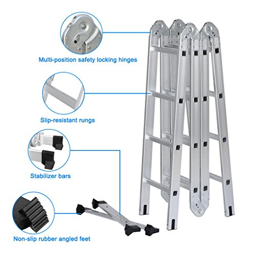 Finether 15.4ft Heavy Duty Multi-Purpose Extendable Aluminum Folding Ladder with Safety Locking Hinges - EN131 Certified -4- Folds 16 Rungs - 330 Lb Capacity