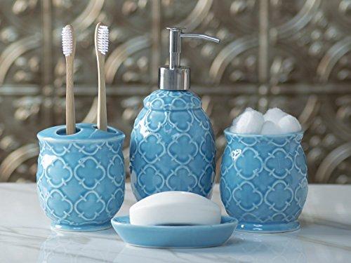 Designer 4-Piece Ceramic Bath Accessory Set by Comfify - Includes Liquid Soap or Lotion Dispenser w/ Premium Metal Pump, Toothbrush Holder, Tumbler, Soap Dish - Moroccan Trellis