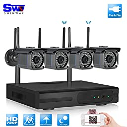 SW Swinway 4Channel Wireless Security Camera 4pcs 1.0MP Wifi Surveillance Camera 3.6mm Leds 60ft Night Vision CCTV Camera System IP Bullet Camera Outdoor Wireless Security System
