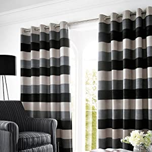 Bromley Slate Lined Ready Made Eyelet Ring Top Chenille Curtains 66in X 54in 168cm X 137cm