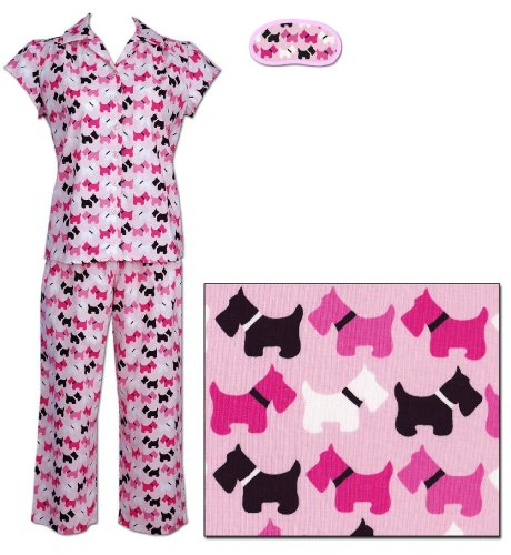 The Cat's Pajamas Scottie Dog Women's Cotton Capri Pajama Medium
