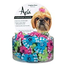 Aria Cotton Gingham Dog Bows Canister 48-Pack