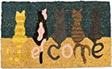 "Homescapes Paillasson (45 x 75cm) ""WELCOME CATS"". 100 % fibres de coco naturel...."