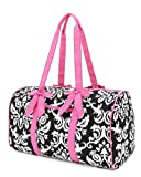 "Belvah Large Quilted Damask Print 21"" Duffle Bag - Chioce of Colors (Black/Pink)"
