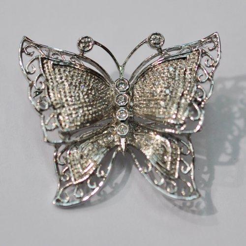 14kt White Gold Diamond Pin & Pendant